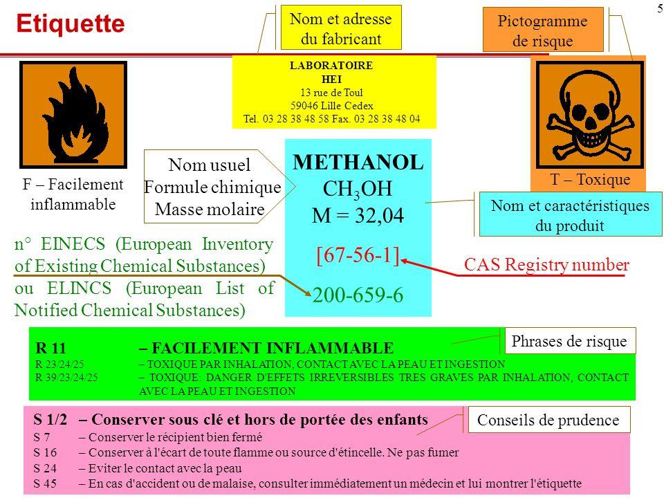 Etiquette METHANOL CH3OH M = 32,04 [67-56-1] 200-659-6 Nom usuel